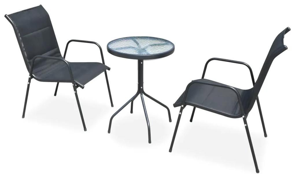 Set mobilier de exterior, oțel și textilenă, 50 x 71 cm, negru