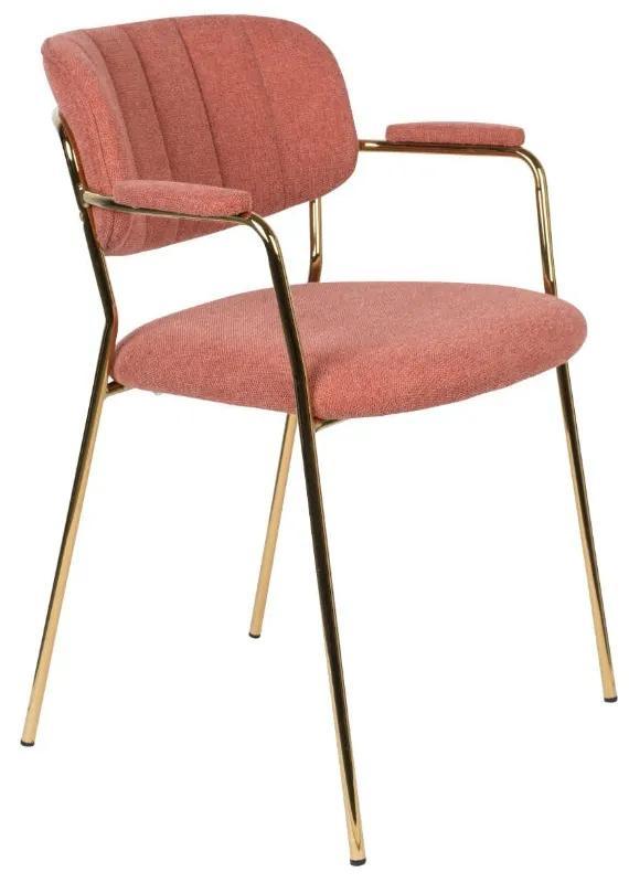 Scaun cu brate roz si metal auriu Jolien Gold/Pink