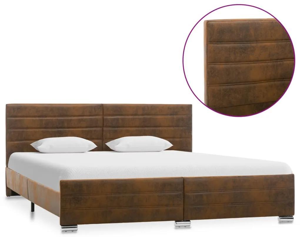 286804 vidaXL Cadru de pat, maro, 180 x 200 cm, velur ecologic