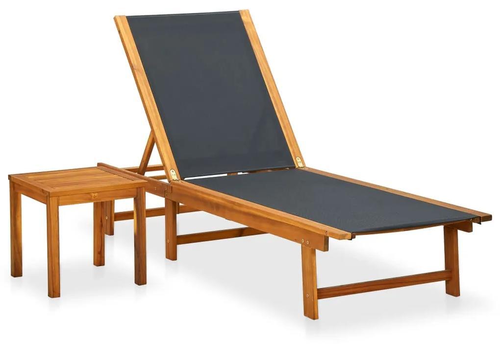 41746 vidaXL Șezlong de plajă cu masă, lemn masiv de acacia & textilenă