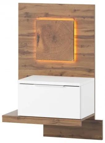 Noptiera cu 1 sertar Livorno 68 Oak / White, l60xA35xH100 cm