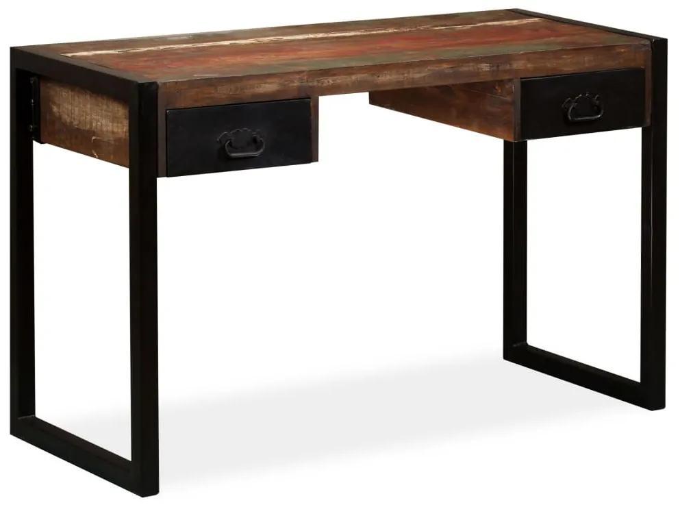 244905 vidaXL Birou cu 2 sertare din lemn masiv reciclat, 120 x 50 x 76 cm