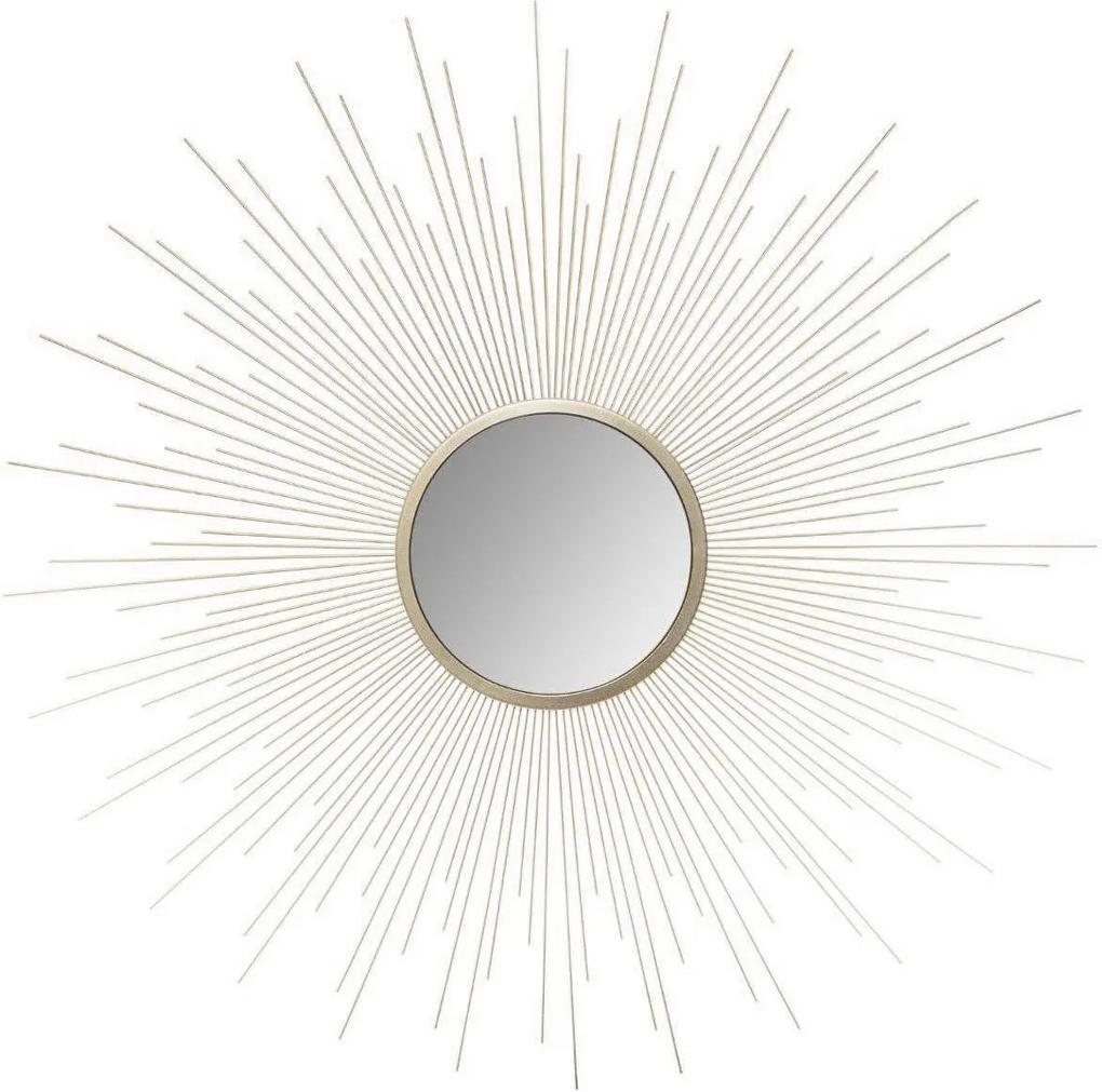Oglindă de perete cu motiv raze solare, culoare aurie, Ø 70 cm