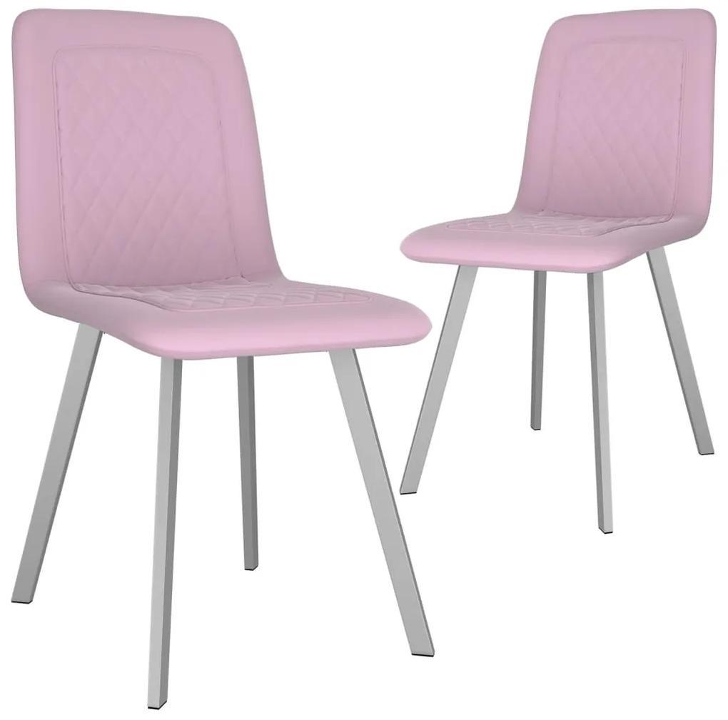 282571 vidaXL Scaune de bucătărie, 2 buc., roz, catifea