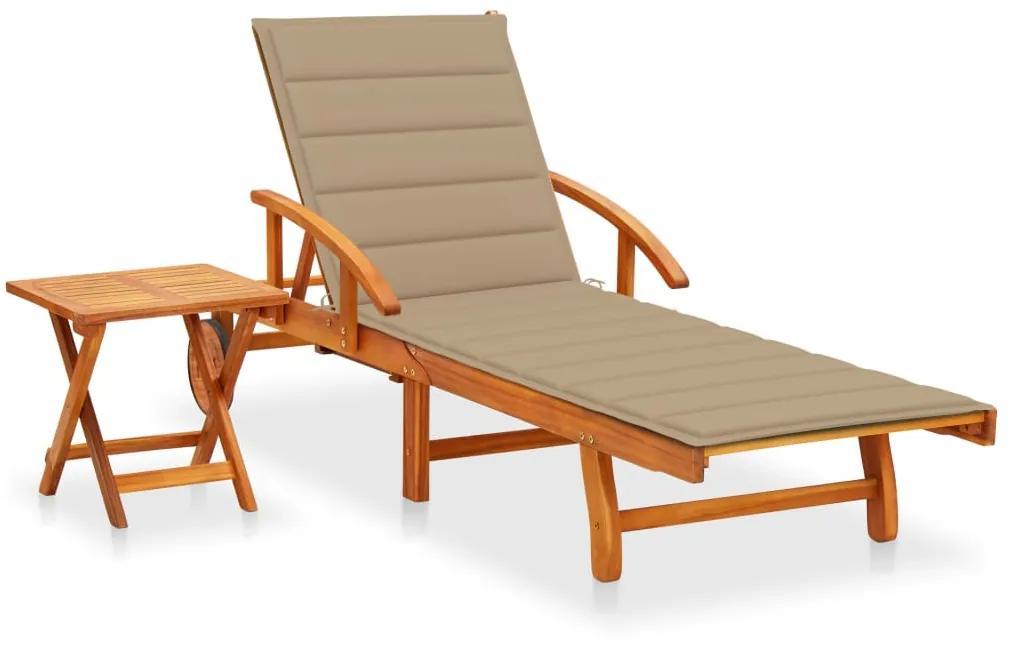 3061620 vidaXL Șezlong de grădină cu masă și pernă, lemn masiv de acacia