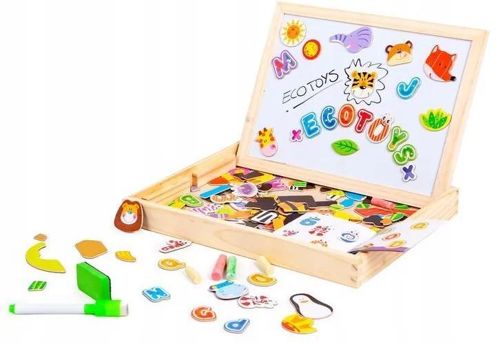 Set Tabla magnetica educativa pentru copii, din lemn, 3 in 1, cu elemente puzzle, 176 piese