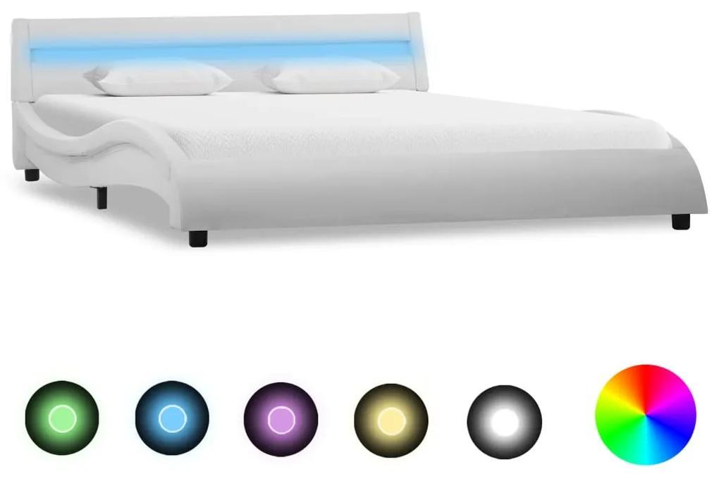 285676 vidaXL Cadru de pat cu LED, alb, 160 x 200 cm, piele ecologică