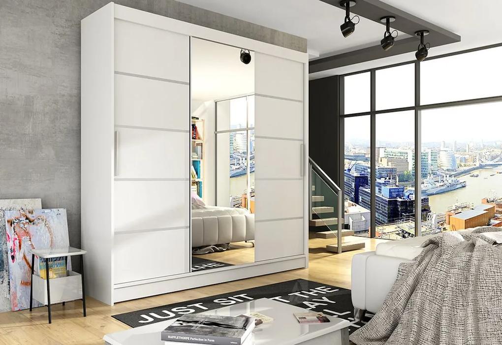 Expedo Dulap dormitor cu uşi glisante LUKAS VI cu oglindă, 250x215x58, alb mat