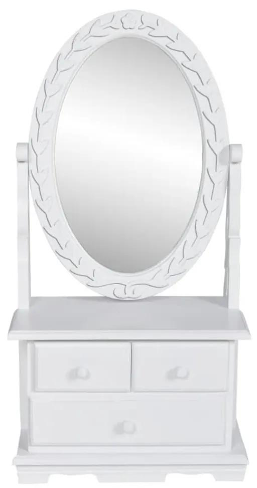 60627 vidaXL Masă de machiaj cu oglindă oscilantă ovală, MDF
