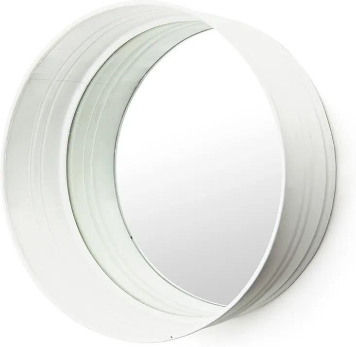 Oglinda rotunda cu rama din fier alba, cu raft, 40 x 40 x 15 cm