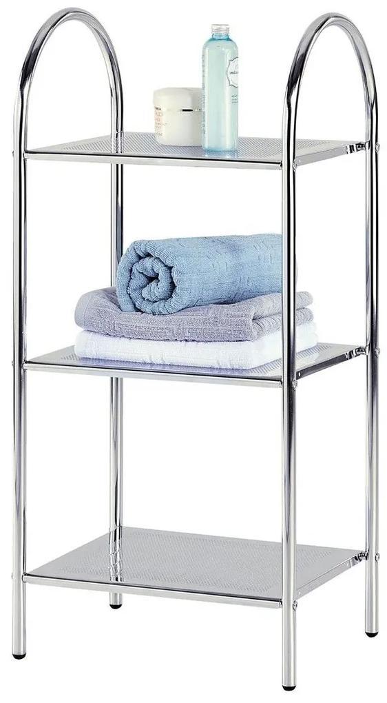 Etajera pentru baie metalica cu 3 polite, 40x32x86 cm