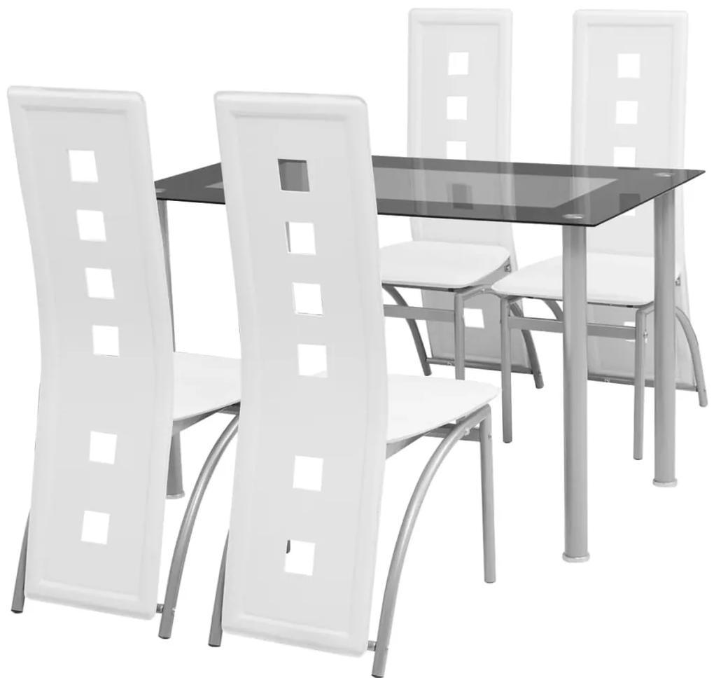 242909 vidaXL Set masă cu scaune, 5 piese, alb