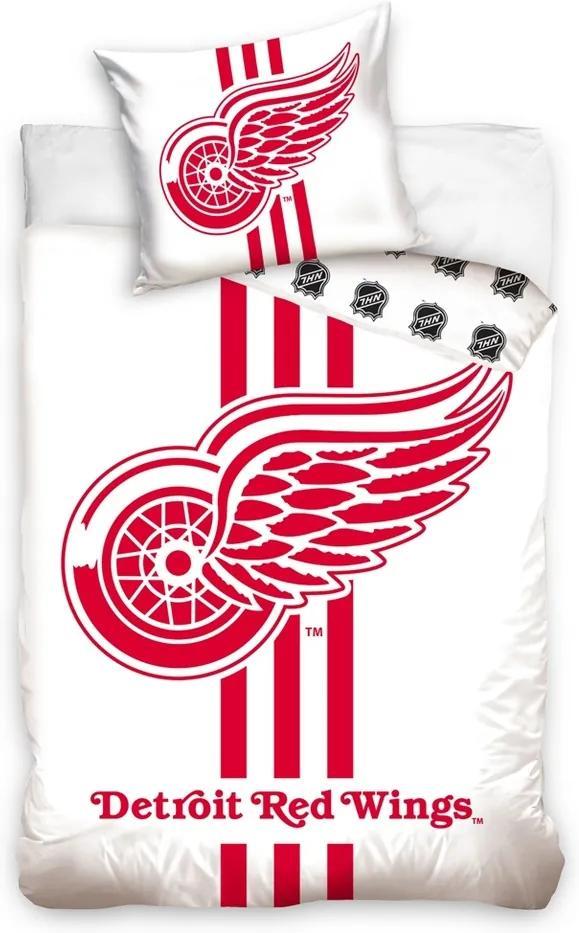 Lenjerie de pat NHL Detroit Red Wings White, din bumbac, 140 x 200 cm, 70 x 90 cm