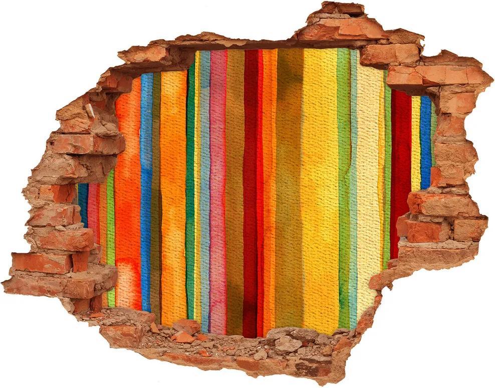 Autocolant de perete gaură 3D Dungi colorate