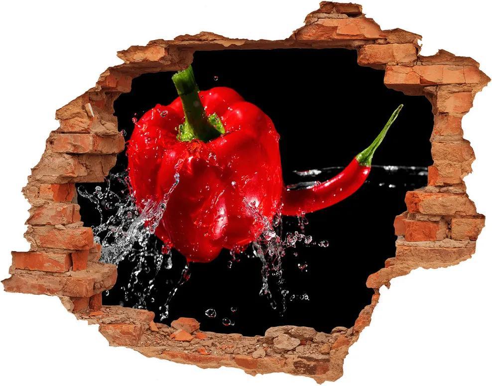 Autocolant un zid spart cu priveliște Ardei roșu