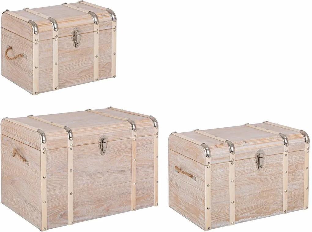 Set 3 cufere depozitare mdf natur Wmundi 60 cm x 40 cm x 41 h