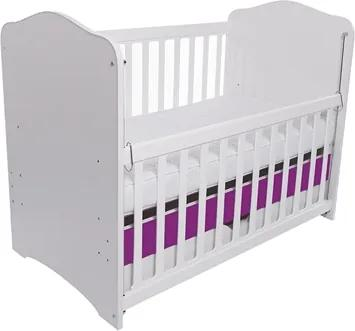 Patut Como culisant cu sertar alb cu violet + saltea cocos confort 120 x 60 x 12 cm