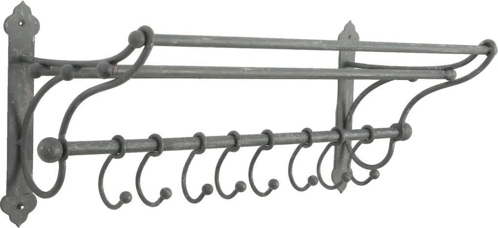 Cuier si suport prosoape fier forjat gri 8 agatatori 56x22x23 cm