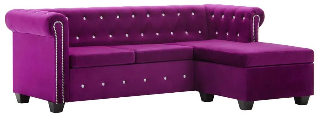 247148 vidaXL Canapea Chesterfield, formă L, catifea, 199x142x72 cm, violet