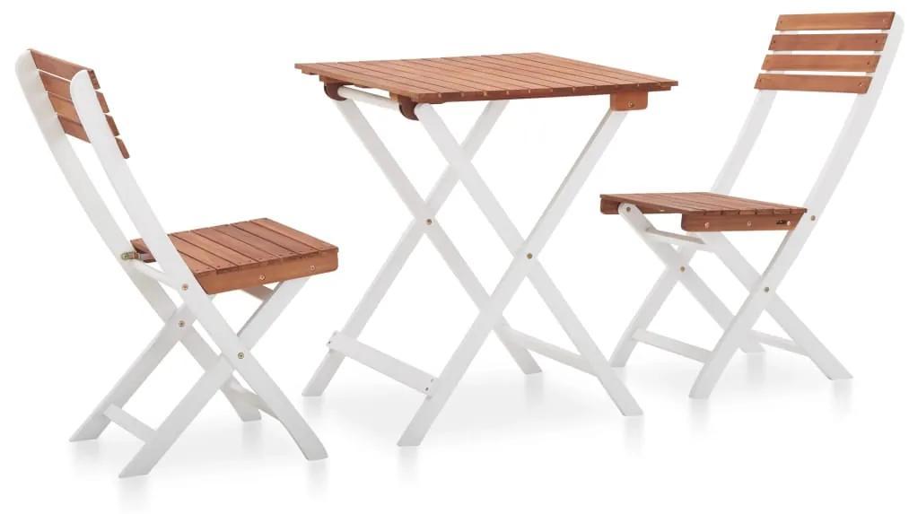 46323 vidaXL Set mobilier bistro, 3 piese, maro închis & alb lemn de acacia