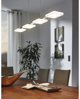 Lustra cu LED integrat Cartama 4x4,5W 1920 lumeni, abajururi patrate, crom