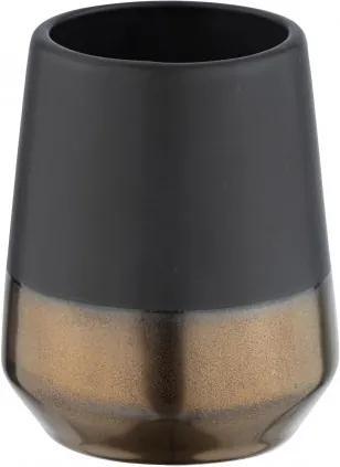 Pahar pentru periuta de dinti, din ceramica, Randol Negru, Ø8xH10 cm