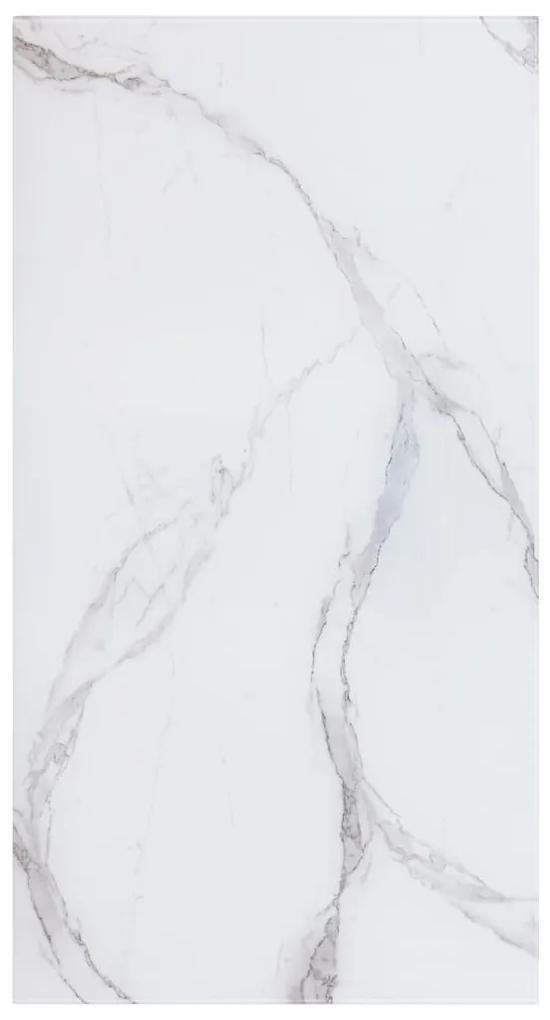 285188 vidaXL Blat masă alb 120x65cm sticlă & textură marmură dreptunghiular