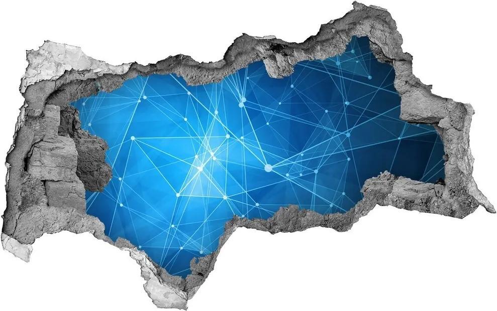 Fototapet un zid spart cu priveliște Linii albastre