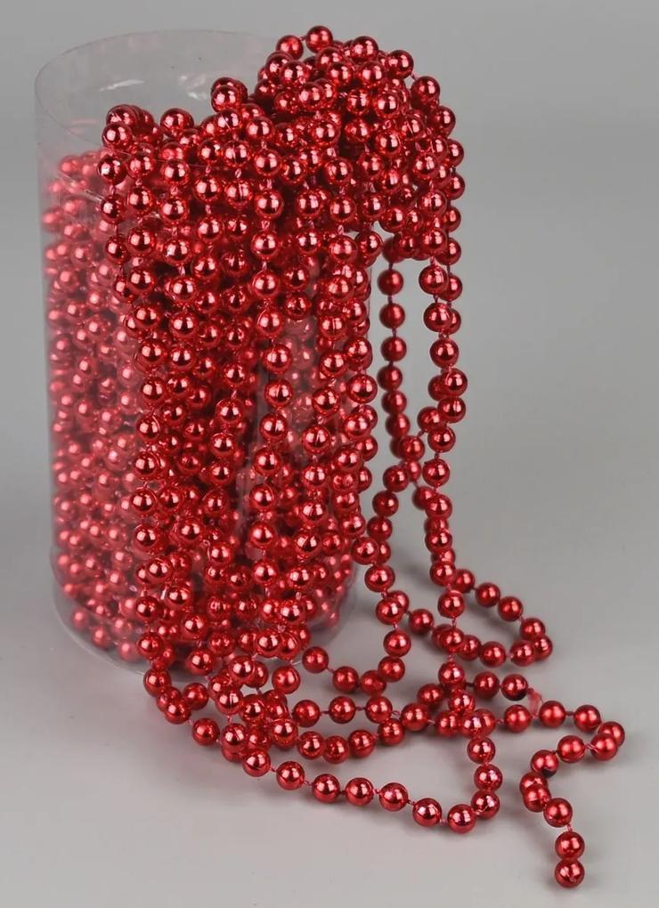 Ghirlanda de Crăciun, din perle, roșu, 15 m