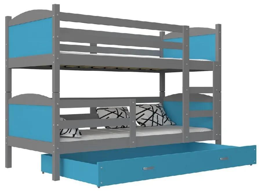 Expedo Pat supraetajat copii MATES 2 COLOR + saltea + somieră GRATIS, 190x80, gri/albastru