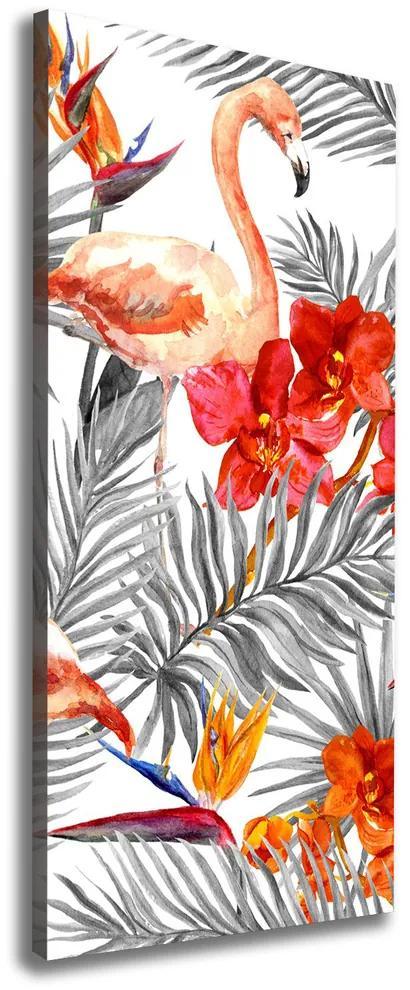Tablou canvas Flamingos și flori