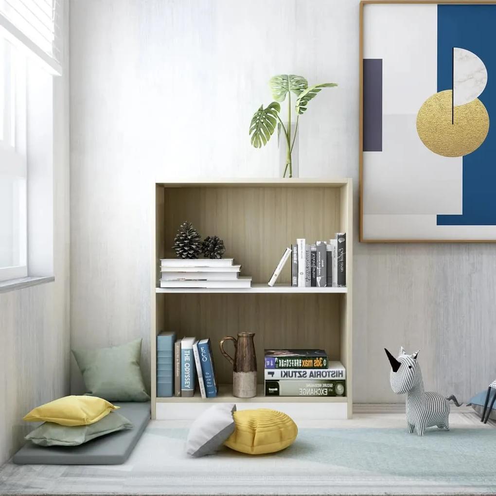 800860 vidaXL Bibliotecă, alb și stejar Sonoma, 60 x 24 x 74,5 cm, PAL