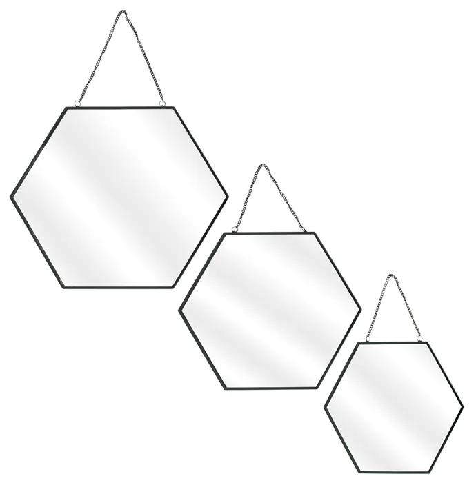 Set 3 oglinzi CMP Hexagonal Black