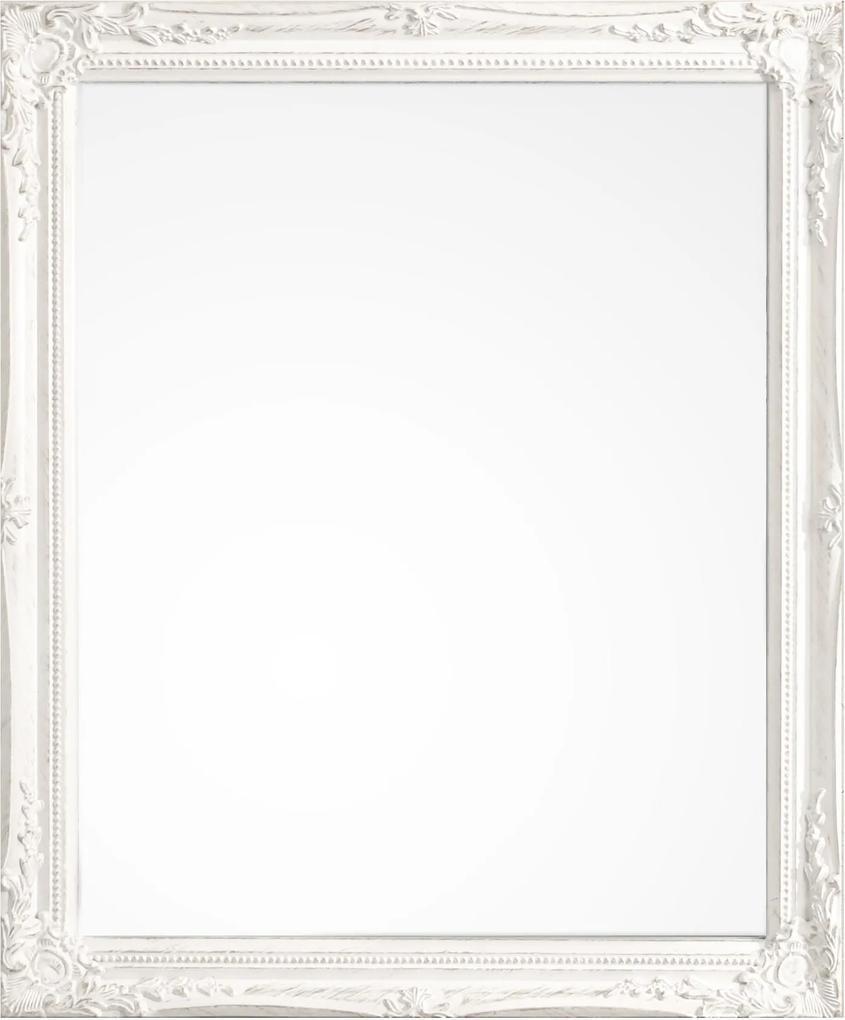 Oglinda decorativa perete cu rama alba patinata Miro 36 cm x 46h