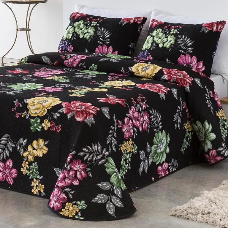 Cuvertură pat CRYSTAL neagră pat dublu