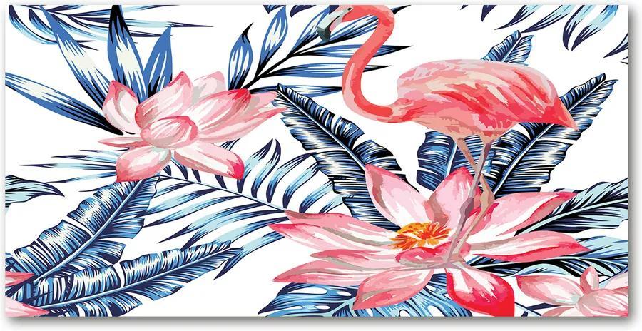 Tablou sticlă acrilică Flamingos și plante