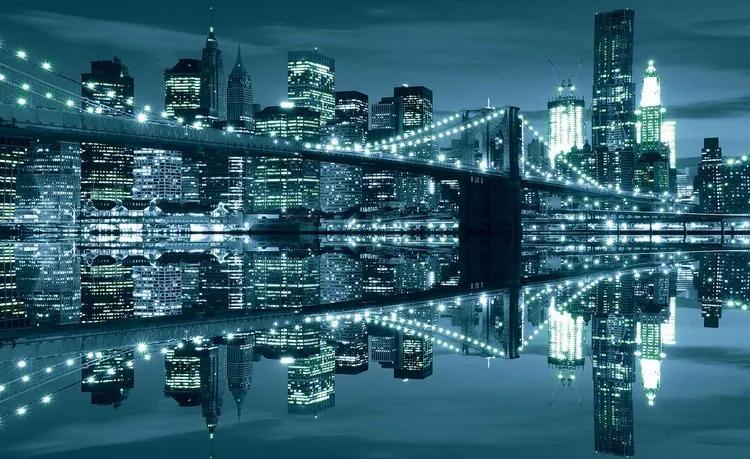 New York Skyline Brooklyn Bridge Fototapet, (368 x 254 cm)