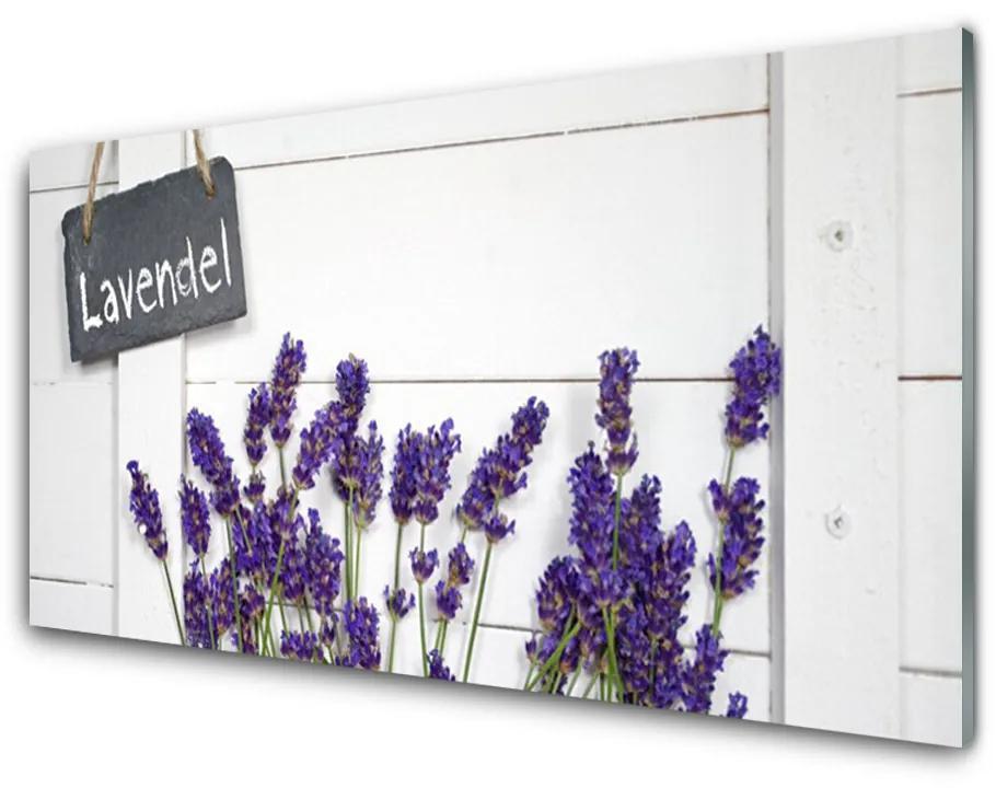 Tablou pe sticla acrilica Flori Floral violet