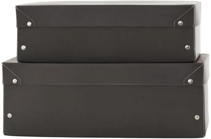 Set 2 Cutii Depozitare MEMO - Carton Negru S-lungime(31cm) x latime(18cm) x inaltime(10cm); L-lungime(35cm) x latime(20cm) x inaltime(13cm)