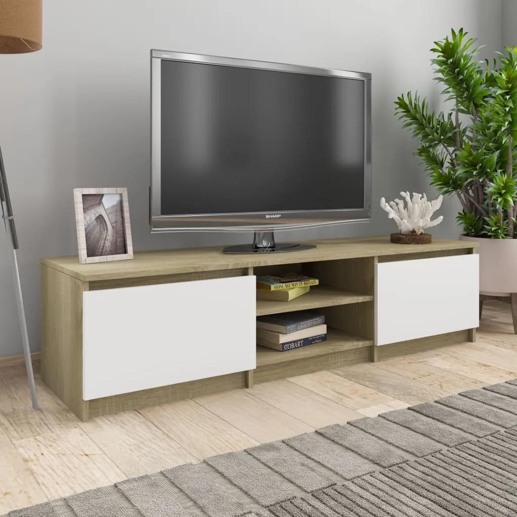 800653 vidaXL Comodă TV, alb și stejar Sonoma, 140 x 40 x 35,5 cm, PAL