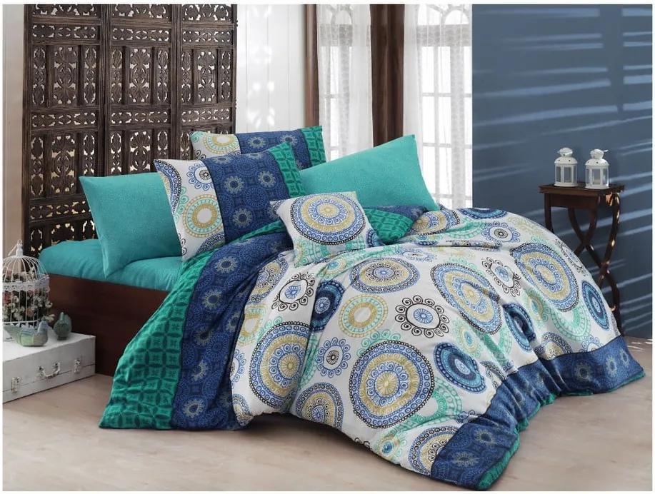 Lenjerie de pat cu cearșaf Nazenin Home Ringo, 160 x 220 cm