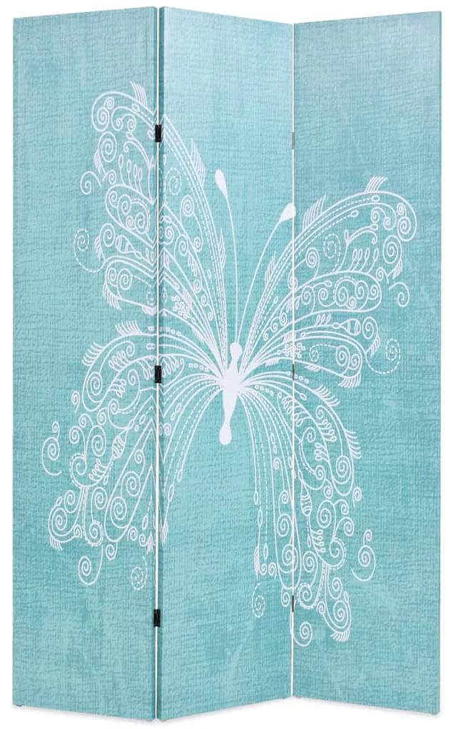 245885 vidaXL Paravan de cameră pliabil, albastru, 120 x 170 cm, fluture