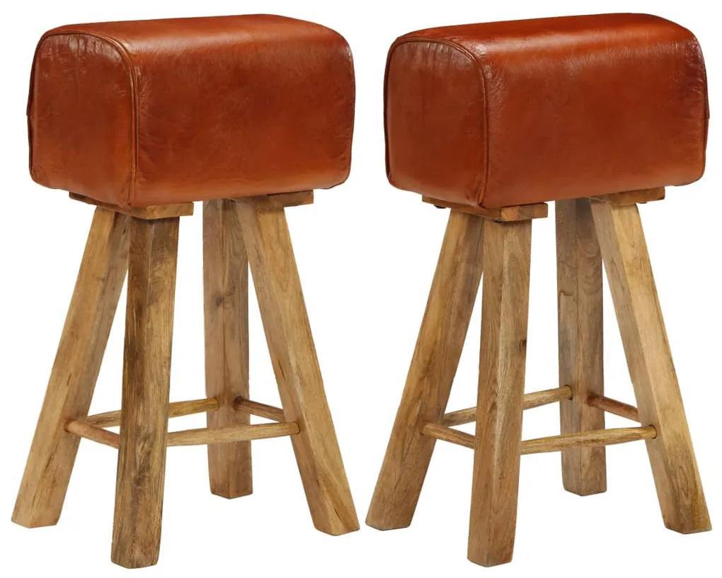 246685 vidaXL Scaune de bar, 2 buc., piele naturală & lemn de mango masiv