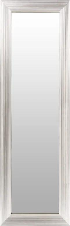 Oglinda dreptunghiulara cu rama din polistiren alba/argintie Harper, 147cm (L) x 47cm (L) x 1,8cm (H)