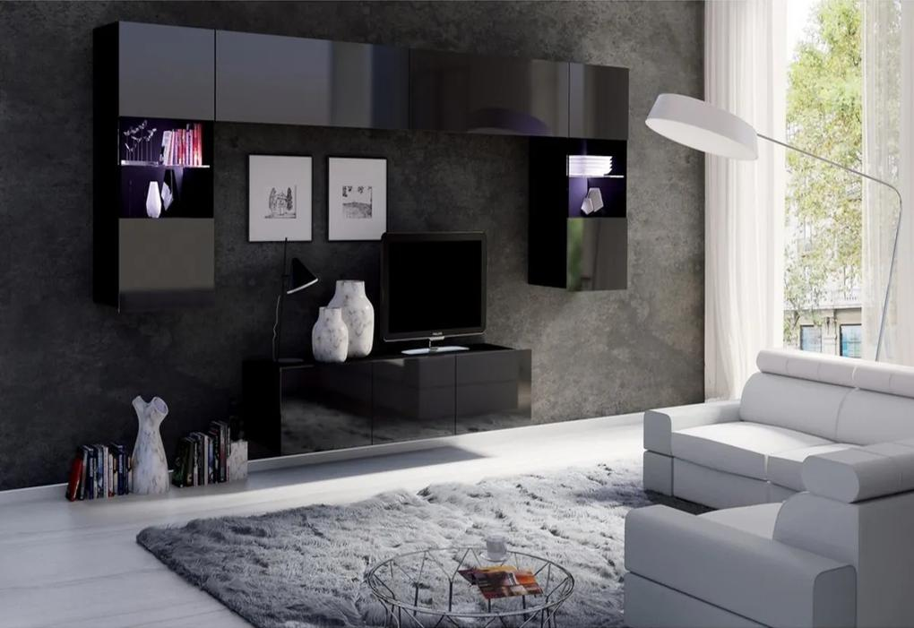 Expedo Set living BRINICA NR2, negru/negru luciu + LED alb