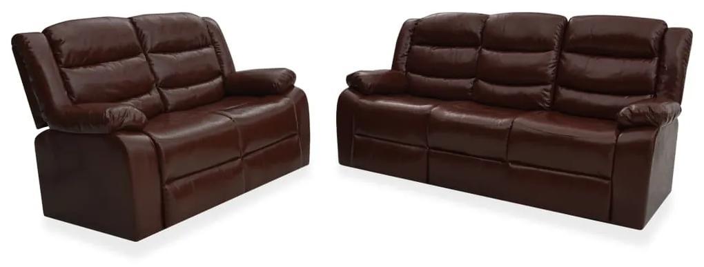 3055336 vidaXL Set canapea rabatabilă, 2 piese, maro, piele ecologică