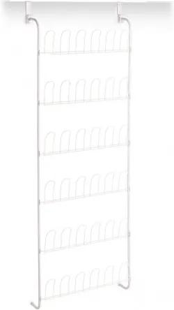 Suport incaltaminte pentru usa, pentru 18 perechi, Metal Alb, l56xA14,5xH159,5 cm