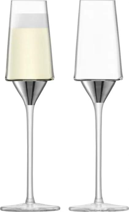 Set 2 pahare sampanie LSA International Space Flute 210ml Platinum