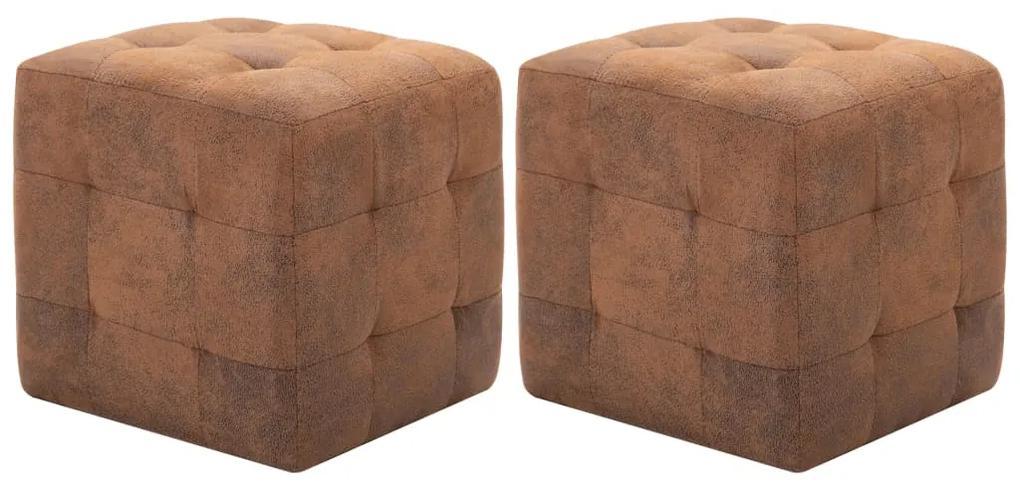 278382 vidaXL Taburet, 2 buc., maro, 30x30x30 cm, piele întoarsă ecologică