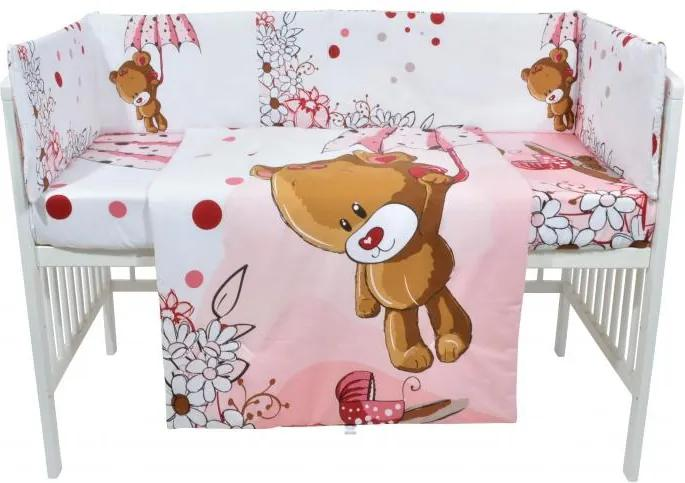 Set lenjerie patut cu 5 piese Pink bear with umbrella